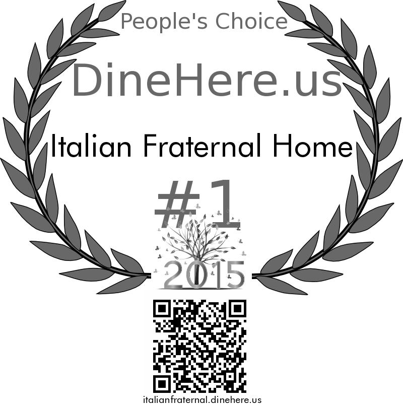 Italian Fraternal Home DineHere.us 2015 Award Winner
